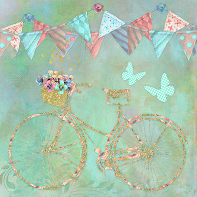 Bunting Painting - Magical Bicycle Tour Enchanted Happy Art by Tina Lavoie