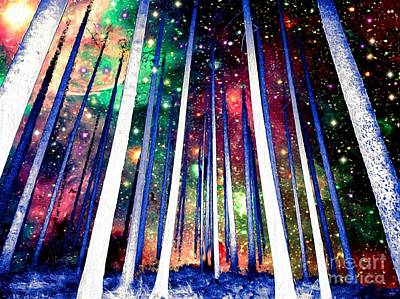 Deep Space Art Painting - Magical Forest Painting by Daniel Janda