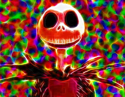 Pumpkin Drawing - Magical Jack Skellington by Paul Van Scott