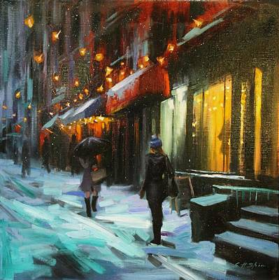 Painting - Magical Night In New York by Chin H  Shin