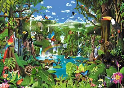 Toucan Digital Art - Magnificent Rainforest by Gerald Newton