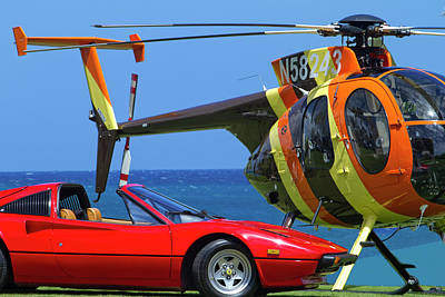 Magnum Helicopter And Ferrari Print by Sean Davey