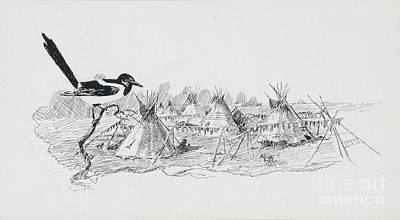 Indian Ink Painting - Magpie Surveying Indian Tipi Village by Celestial Images