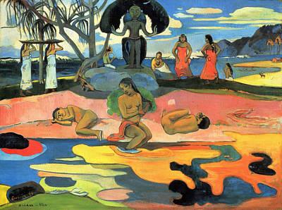 Woman Painting - Mahana No Atua, Day Of The Gods by Paul Gauguin