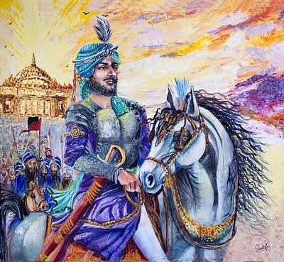 Raja Painting - Maharaja Ranjit Singh by Sarabjit Singh