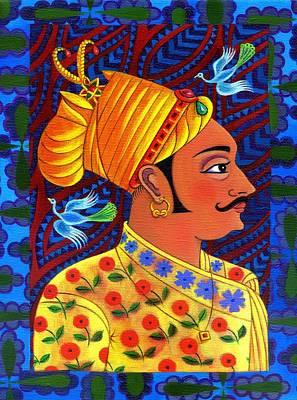 Raja Painting - Maharaja With Blue Birds by Jane Tattersfield