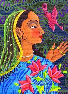 Raja Painting - Maharani With Magenta Bird by Jane Tattersfield
