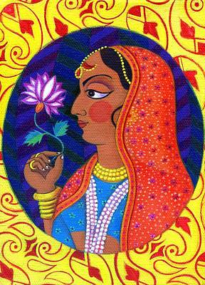 Raja Painting - Maharani With White And Pink Flower by Jane Tattersfield