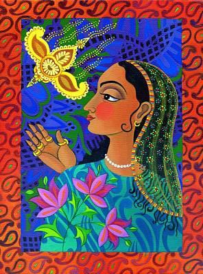 Raja Painting - Maharani With Yellow Bird by Jane Tattersfield