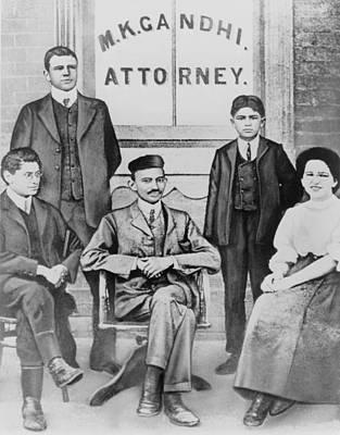 Mahatma Gandhi Photograph - Mahatma Gandhi Seated, Surrounded by Everett