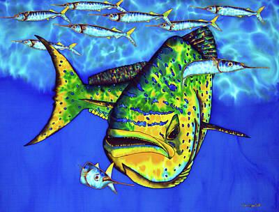 Silk Painting - Mahi Mahi And Ballyhoo by Daniel Jean-Baptiste