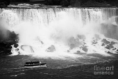 Maid Of The Mist Boat Below The American And Bridal Veil Falls Niagara Falls Ontario Canada Print by Joe Fox