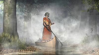 Native American Woman Digital Art - Maid Of The Mists by Daniel Eskridge