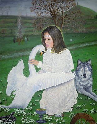 Swan Goddess Painting - Maiden Goddess Brigit - Imbolc by Shirley Wellstead