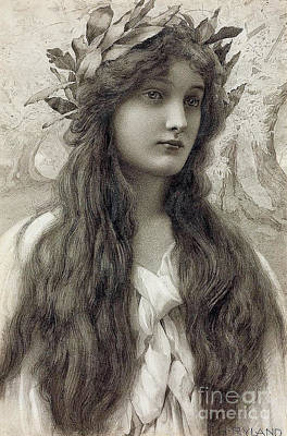 Wreath Painting - Maiden With A Laurel Wreath by Henry Ryland