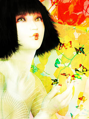Maiko And Butterflies Print by Shanina Conway