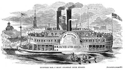 Steamboat Photograph - Mail Steamboat, 1854. /nthe Louisville Mail Company Steamboat Jacob Strader. Wood Engraving, 1854 by Granger
