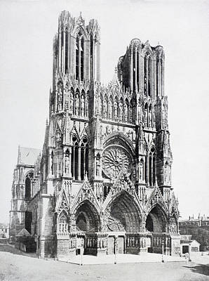 First-lady Drawing - Main Facade Of Notre-dame De Reims  Our by Vintage Design Pics