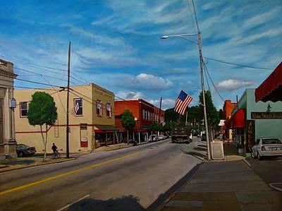 Patriotism Painting - Main Street Clayton Nc by Doug Strickland
