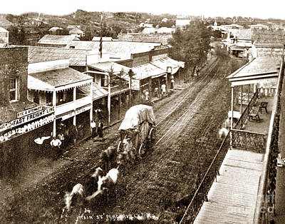 Placerville Photograph - Main Street, Placerville, From The Cary House 1866 by California Views Mr Pat Hathaway Archives