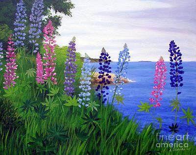 Maine Painting - Maine Bay Lupine Flowers by Laura Tasheiko