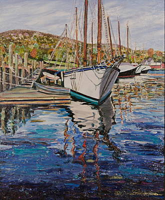 Maine Coast Boat Reflections Original by Richard Nowak