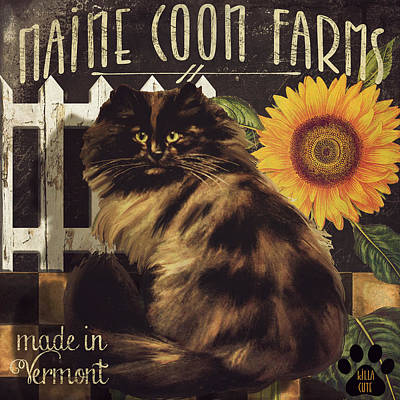 Folk Art Kitten Painting - Maine Coon Farms by Mindy Sommers