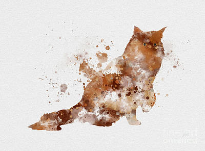Adorable Mixed Media - Maine Coone Ginger by Rebecca Jenkins