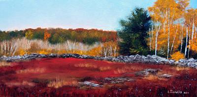 Blueberry Painting - Maine Wild Blueberries by Laura Tasheiko