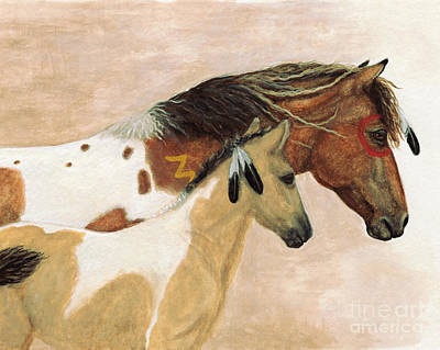 Painting - Majestic Horses Mare Foal by AmyLyn Bihrle