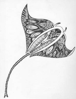 Explore Drawing - Majestic Manta Ray  by Michael Miller