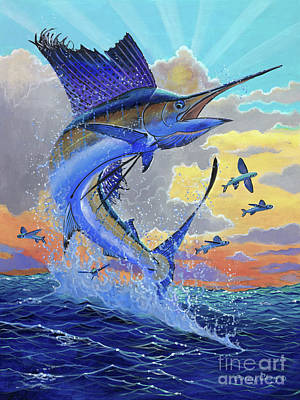 Colorful Marine Life Painting - Majestic Sail by Carey Chen