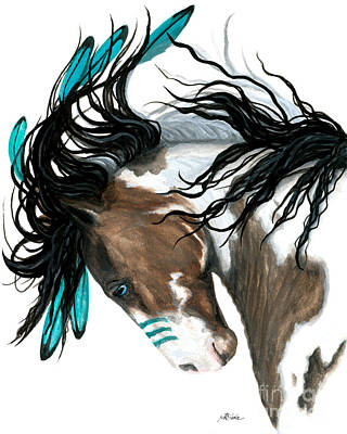 Pinto Painting - Majestic Turquoise by AmyLyn Bihrle