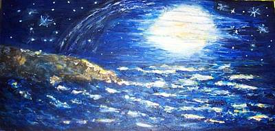 Stars Painting - Make A Wish by Mary Sedici