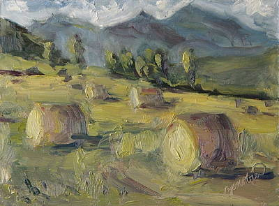 Bales Painting - Make Hay While The Sun Shines Study by Zanobia Shalks