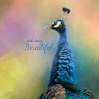 Peacock Photograph - Make Today Beautiful - Peacock Art by Jai Johnson