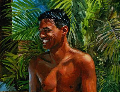 Laugh Painting - Making Nohea Laugh by Douglas Simonson