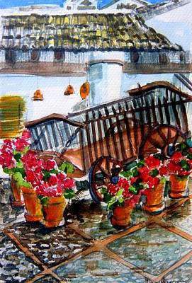 Malaga Spain Flower Cart Original by Mindy Newman