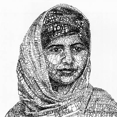 Peace Drawing - Malala Yousafzai by Michael  Volpicelli