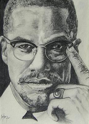 Malcolm X Print by Stephen Sookoo