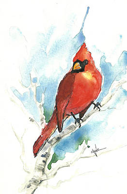 Cardinals In Watercolor Painting - Male Cardinal by Christine Camp