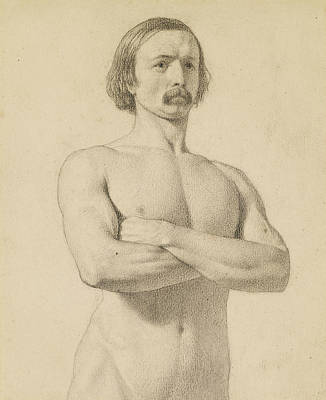 Male Nude - Academic Nude Study, Half-length With Moustache And Arms Folded  Print by Ford Madox Brown