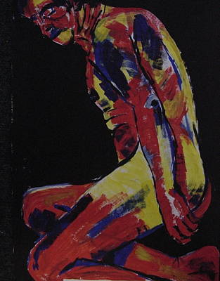 Male Nude In Primary Colours Original by Joanne Claxton