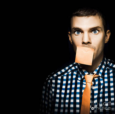 Male Office Worker With Blank Orange Sticky Note Print by Jorgo Photography - Wall Art Gallery