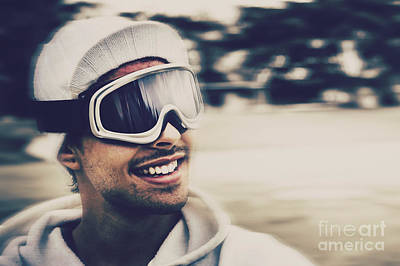 Skiing Action Photograph - Male Snowboarder Wearing Ski Goggles And Smile by Jorgo Photography - Wall Art Gallery
