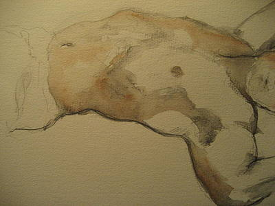 Wash Drawing - Male Torso by Victoria Heryet