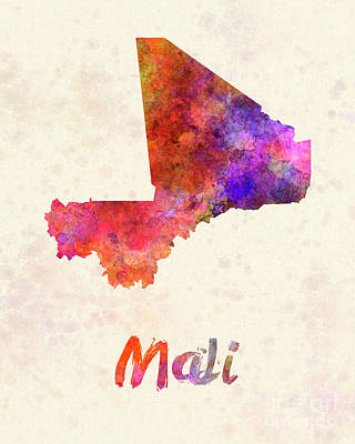 Mali Painting - Mali In Watercolor by Pablo Romero