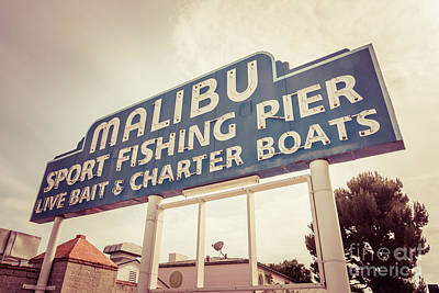 1970s Photograph - Malibu Sign Sport Fishing Pier Picture by Paul Velgos