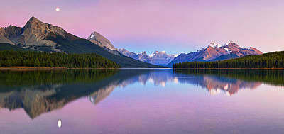 Moonrise Photograph - Maligne Lake by Yan Zhang
