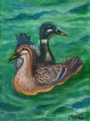 Polskie Obrazy Painting - Mallard Ducks by Anna Folkartanna Maciejewska-Dyba